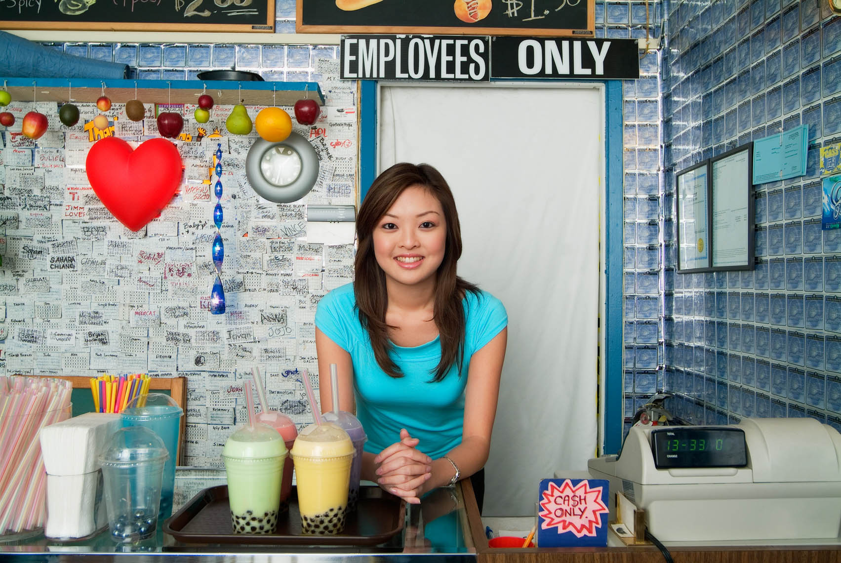 Small business owner in her Bubble Tea Restaurant
